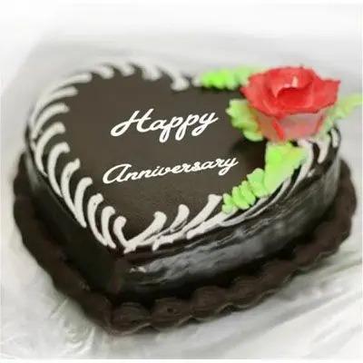 Heart Shape Anniversary Chocolate Cake
