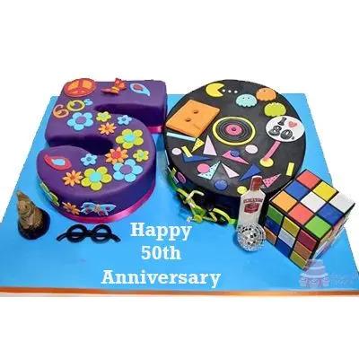 50 Number Anniversary Cake