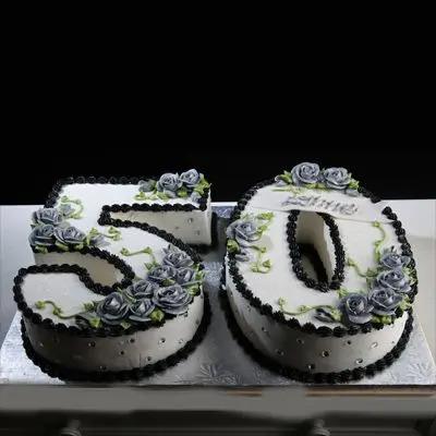 50 Number Grey Rose Cake