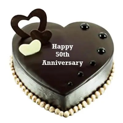 50th Anniversary Special Heart Shape Chocolate Cake