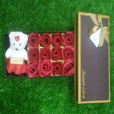 Roses & Teddy Gift Box