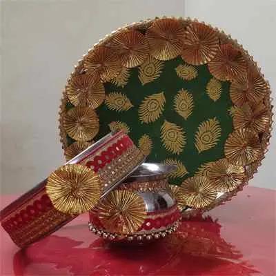 Karwa Chauth Pooja Thali Green