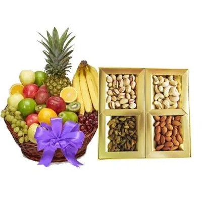 Fresh Fruits Basket With Dry Fruits