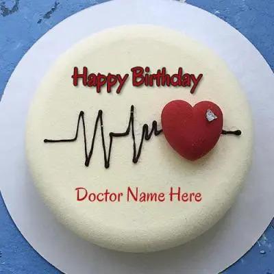 Happy Birthday Doctor Heart Beat Cake