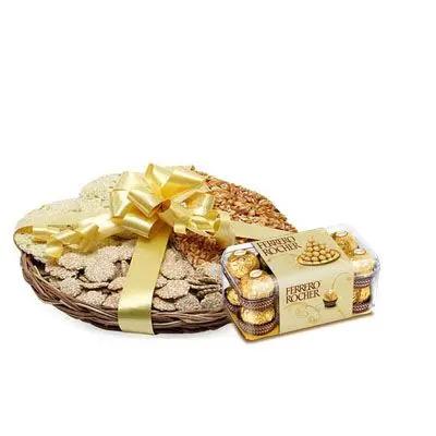 Lohri Sweets in Basket with Ferrero