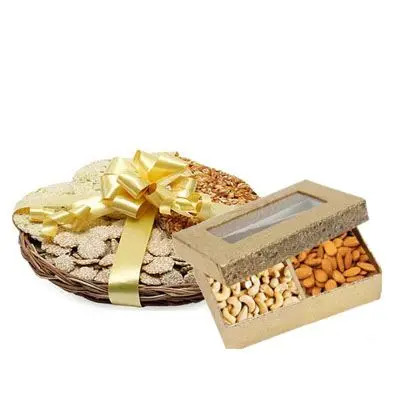Lohri Sweets in Basket with Mix Dry Fruits