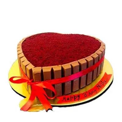 Heart Shape Kitkat Red Velvet Cake