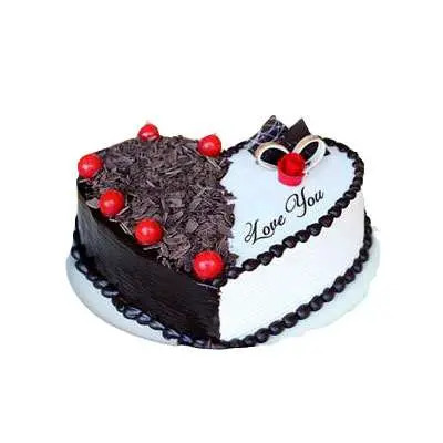 Heart Shape Black Forest & Vanilla Cake