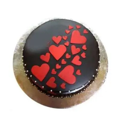 Double Hearts Chocolate Cake
