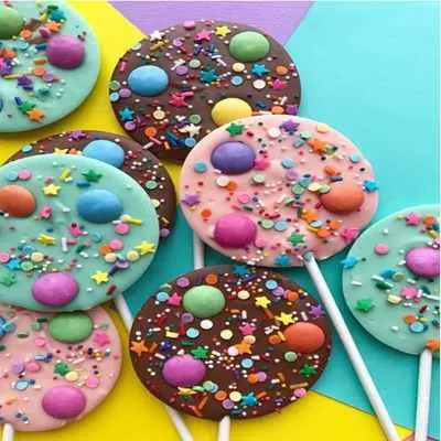 Rainbow Gems Chocolate Lollipops