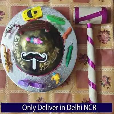 Jungle Theme Happy Birthday Pinata Cake with Hammer