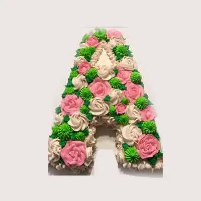 A Shape Strawberry Floral Cake