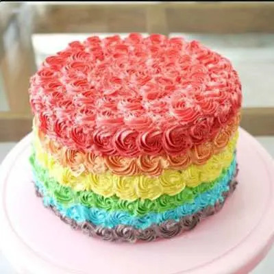 Delectable Rainbow Roses Cake