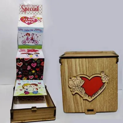 Sweet Heart Wooden Box with Card