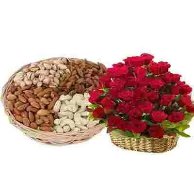 Mixed Dry Fruits & Roses Basket