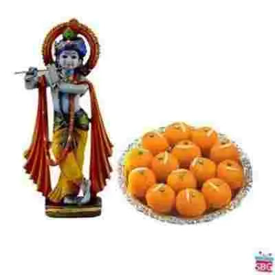 Krishna With Motichoor Laddu