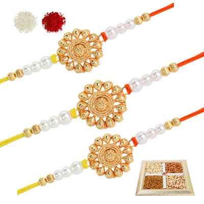 3 Designer Rakhi Set with Dry Fruits