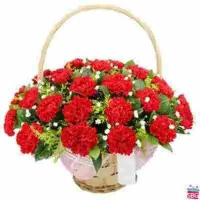 Red Carnations Basket