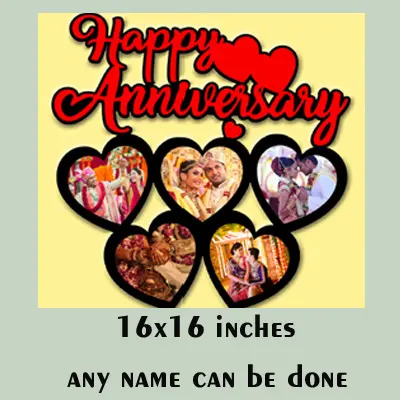 MDF Wooden Personalized Happy Anniversary Frame