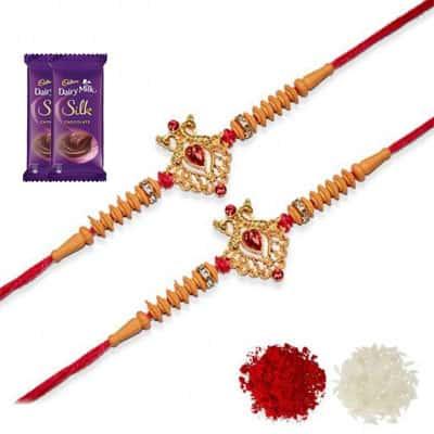 Desinger Rakhi Set of 2 with Silk