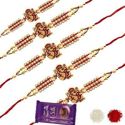 5 Designer Rakhis with Silk Chocolates